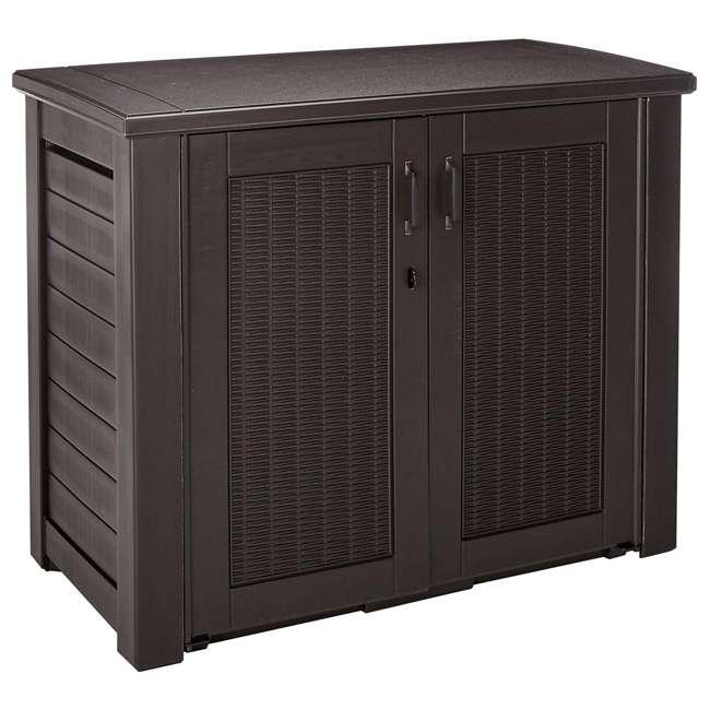 1863391 Rubbermaid Patio Chic Outdoor Cabinet Style Wicker Storage Deck Box, Black Oak