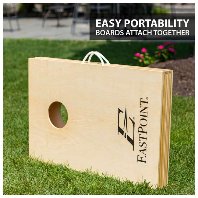 1-1-16954-DS EastPoint Sports Solid Wood Bean Bag Toss Cornhole Yard Game Board Set with Bags 1