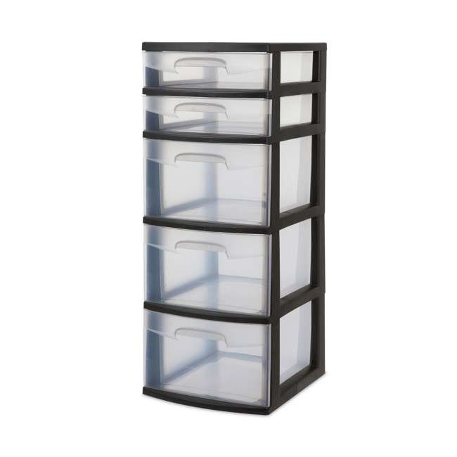 8 x 28959002-U-A Sterilite 5 Drawer Tower Plastic Storage Organizer, Black (Open Box) (8 Pack)