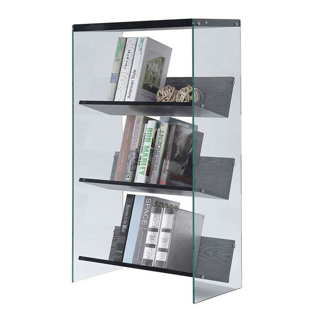 R4-0335 Convenience Concepts SoHo 4-Tier Bookcase, Weathered Gray/Glass 3