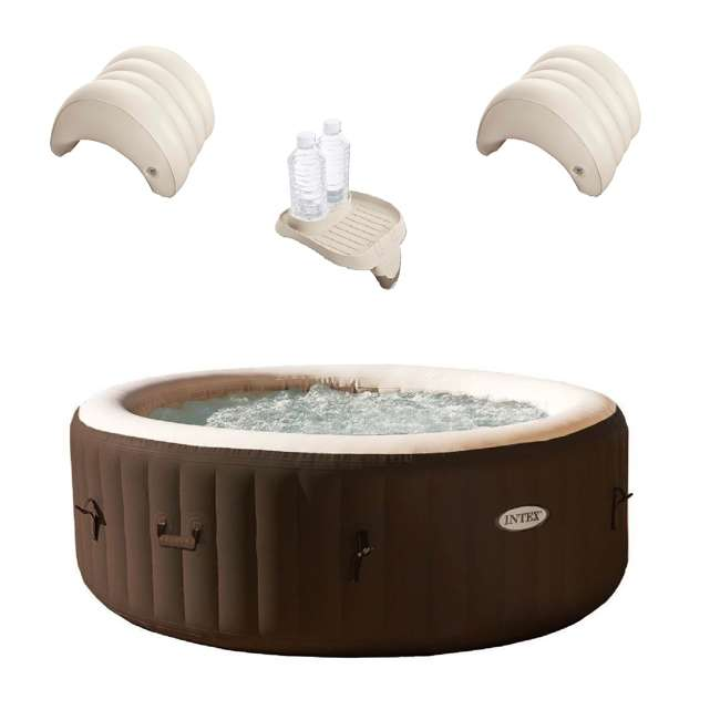 28403VM + 28500E + 2 x 28501E Intex 4 Person Hot Tub Spa w/ Cup Holder Tray & Inflatable Headrest (2 Pack)