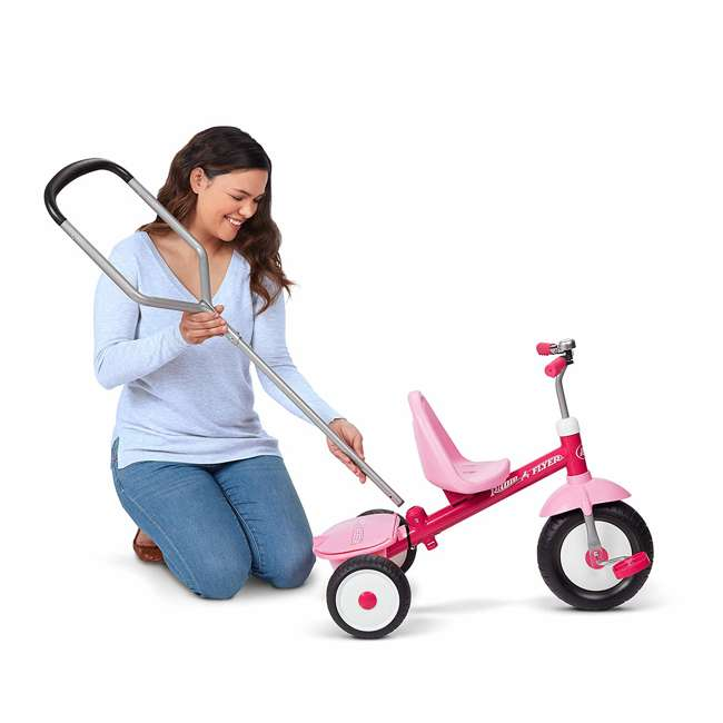 53PZ Radio Flyer Deluxe Steer and Stroll Kids Outdoor Recreation Bike Tricycle, Pink 6