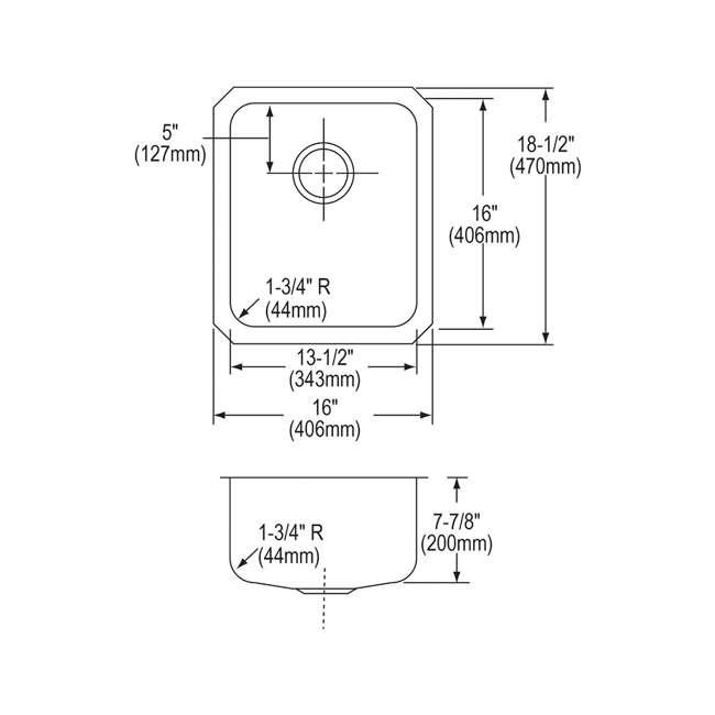 ELUH1316-U-A Elkay Lustertone 18 Gauge Stainless Steel Single Bowl Undermount Sink (Open Box) 1