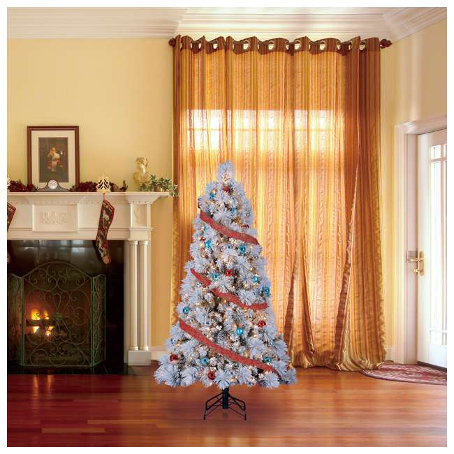 TG66M4E42S08 Home Heritage Snowdrift Spruce 6.5 Foot Flocked Christmas Tree with White Lights 4
