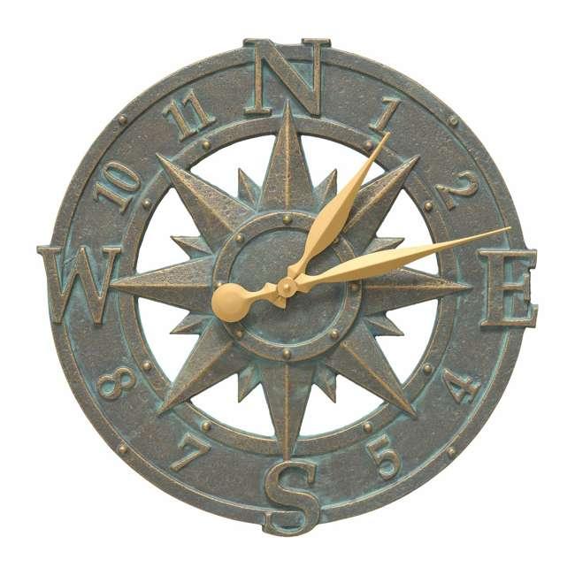 1297 Whitehall 1297 Compass Rose 16 Inch Indoor Outdoor Wall Clock, Bronze Verdigris