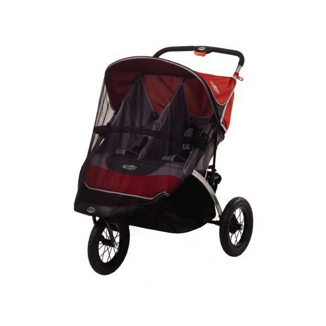 AR825-L InStep Suburban Safari 2 Swivel Double Jogging Stroller (Red/Gray) 2