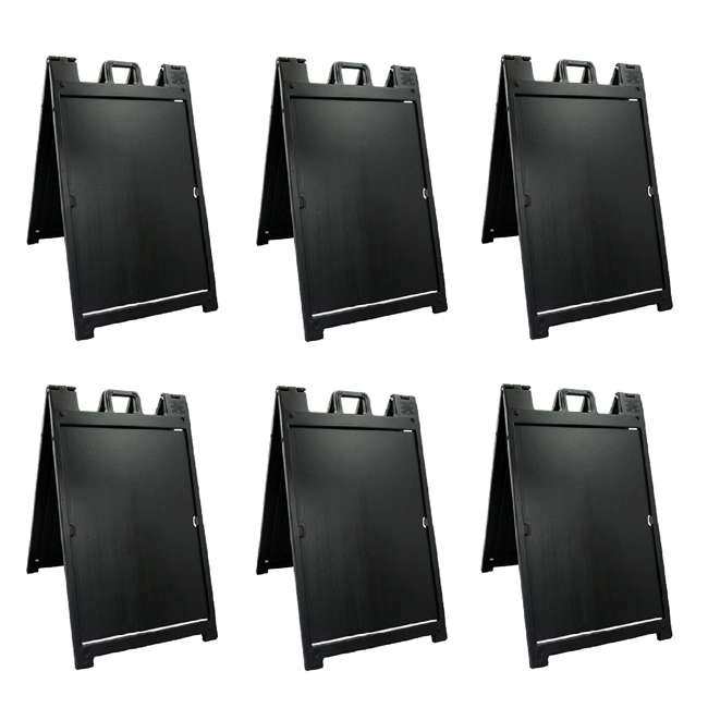 6 x 140NSBK Plasticade Deluxe Signicade Double-Sided Sign Stand, Black (6 Pack)