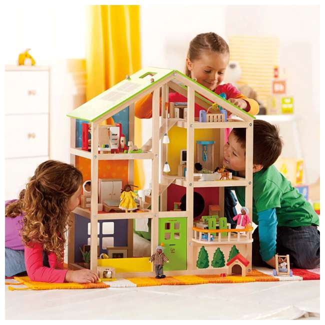 HAP-E3401 Hape All Season House Wooden Dollhouse with Furniture (2 Pack) 6