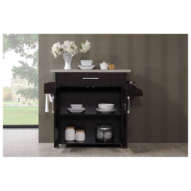 HIK78 CHOC-GREY Hodedah Wheeled Kitchen Island with Spice Rack and Towel Holder, Chocolate Gray 4