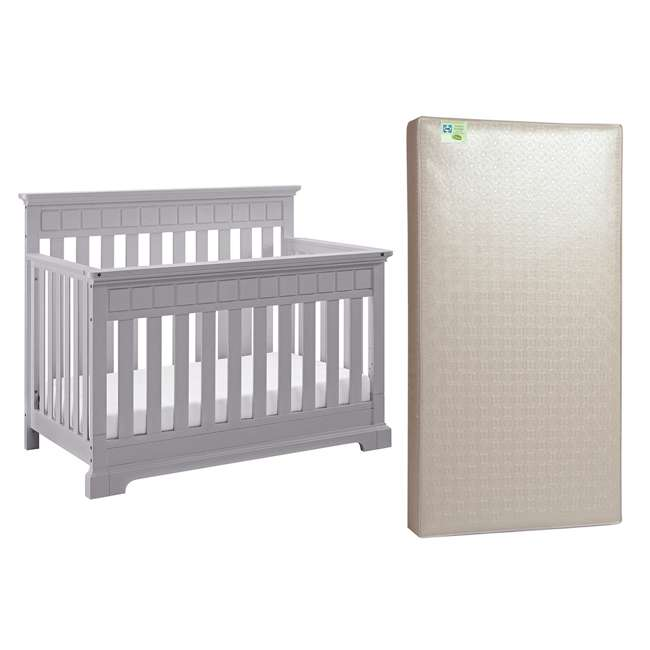 04565-50F + EM712-PHN1 Thomasville Kids Willow Crib, Pebble Gray & Sealy Soybean Mattress