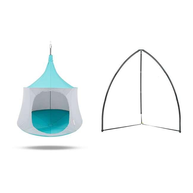 TP1500AM + BYHT9001 TreePod Cabana 5' Hanging Mesh Daybed Tent, Aquamarine w/ Stand