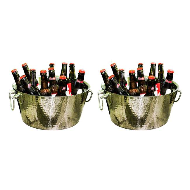 17689 BREKX Anchored Walled Hammered Steel Beverage Bucket (2 Pack)