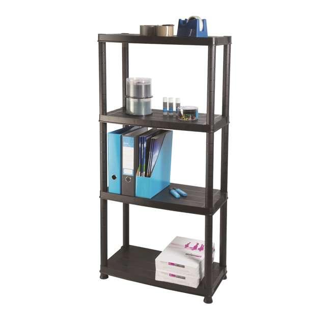 12004B-S Ram Quality Products Primo 12 x 4 inch 4 Tier Plastic Storage Shelves, Black
