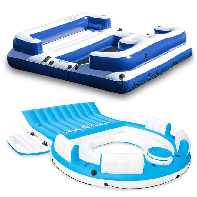56299EP + 58293EP Intex Inflatable Island Pool Lake Raft Lounger w/ Oasis Island Floating Lounge