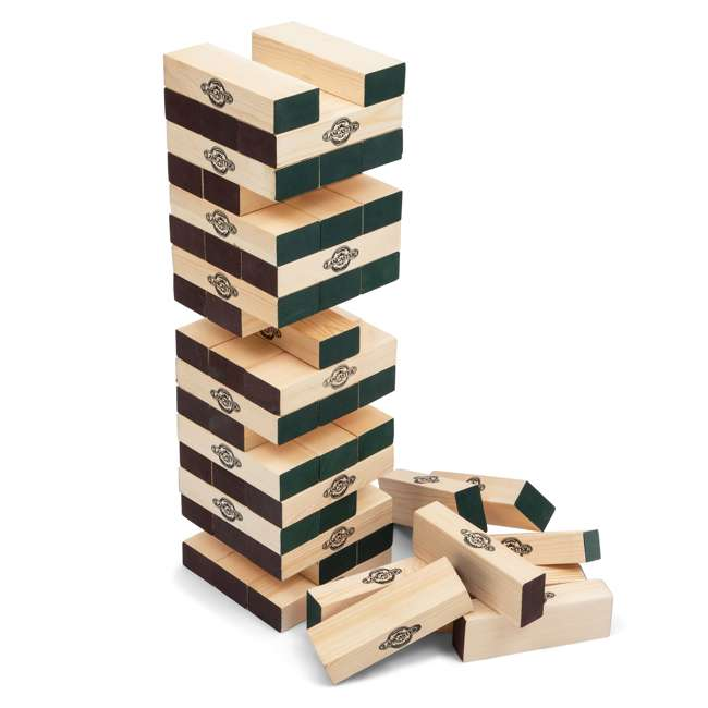 LG100Y19030 Lancaster Gaming Company Giant Wooden Tumbling Tower Outdoor Game, Black & Pine 1