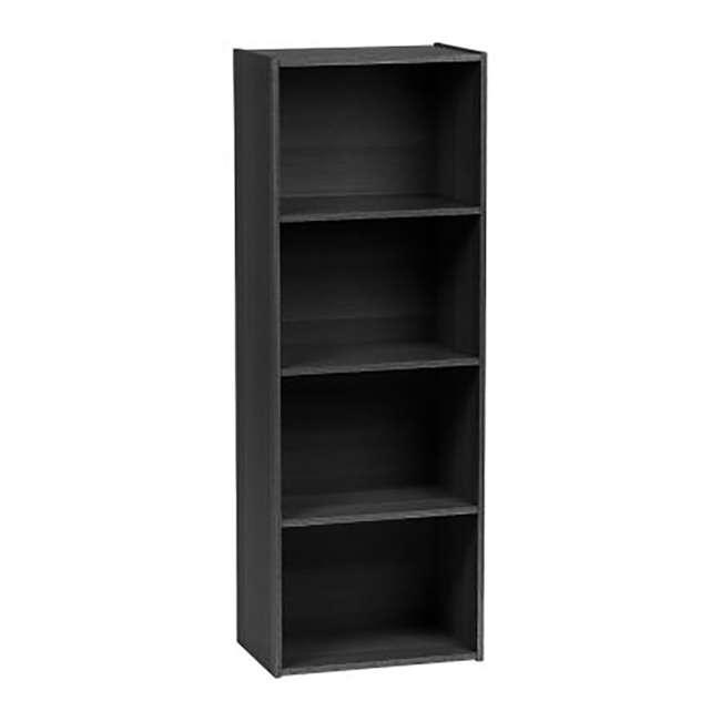 596482 IRIS 4 Tier Tall Freestanding Wood Storage Bookshelf Shelf Shelving Unit, Black