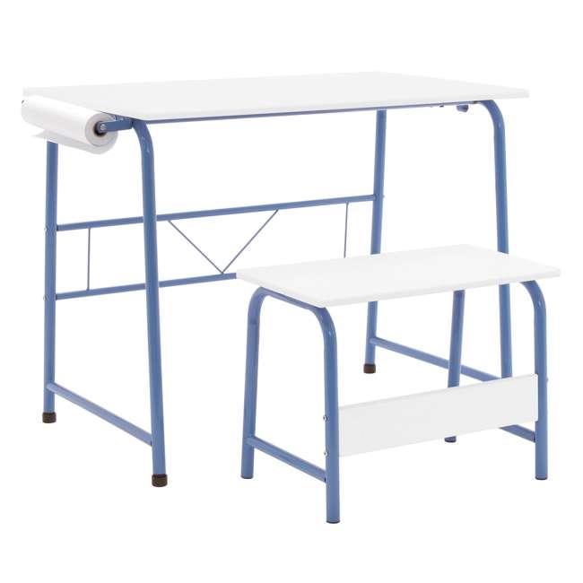 38022 Studio Designs Homeroom 2 Piece Art Table & Bench Set w/ Paper Roll, Blue/White