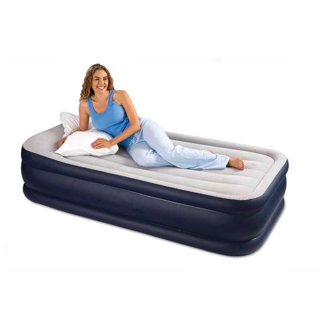 64131W Intex Deluxe Pillow Rest Air Mattress w/ Pump, Twin (2 Pack) 3