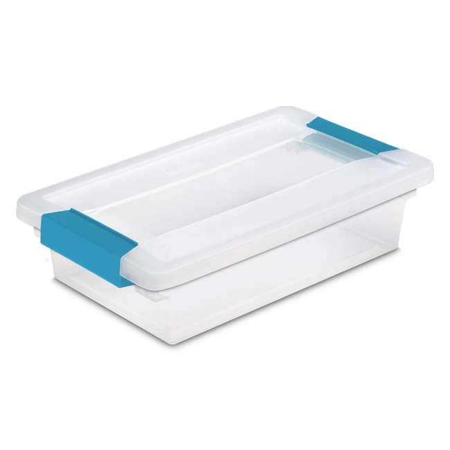12 x 19618606-U-A Sterilite Small File Clip Box Clear Storage Tote Container (Open Box) (12 Pack)