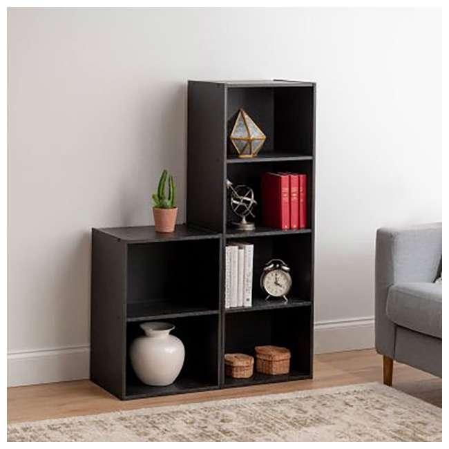 596482 IRIS 4 Tier Tall Freestanding Wood Storage Bookshelf Shelf Shelving Unit, Black (2 Pack) 3