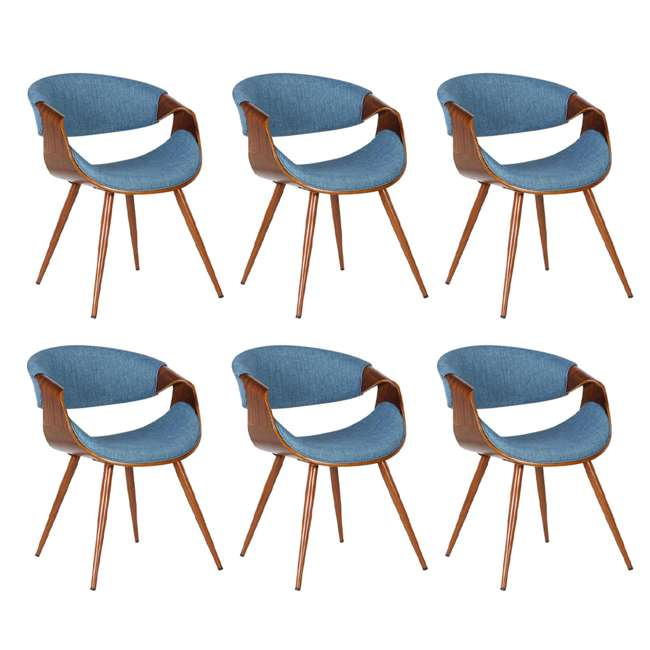 6 x LCBUCHWABL Armen Living Blue Fabric and Walnut Wood Finish Mid Century Dining Side Chair (6 Pack)