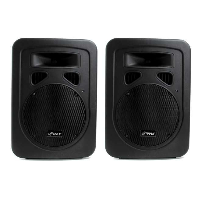 PPHP898A Pyle PPHP898A 800W 8'' 2-Way Plastic Molded Powered Amplified Speaker Systems (Pair)
