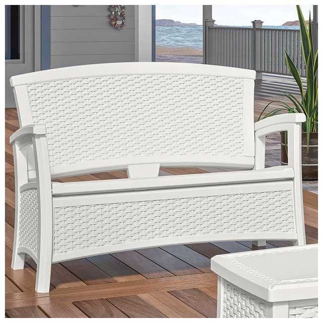 BMDB3010W + BMWB5000W + 2 x BMCC1800W Suncast Patio Coffee Table, Loveseat w/ Storage, Club Chair w/ Storage (2 Pack) 8