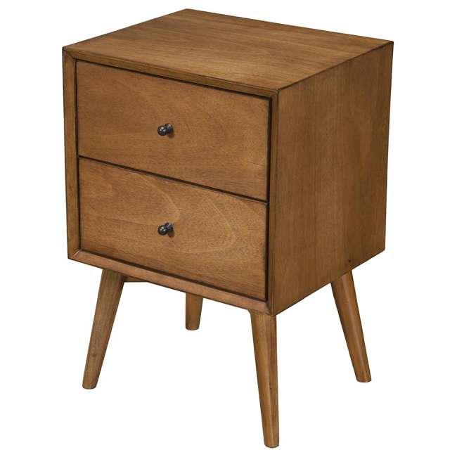 966-02 Alpine Furniture 966-02 Flynn Mid Century Modern 2 Drawer Nightstand, Acorn 1