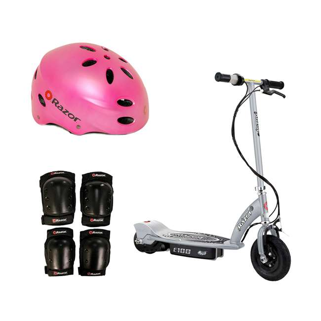 13181112 + 97783 + 96784 Razor E100 Motorized Silver Electric Scooter w/ Pink Helmet & Deluxe Safety Set