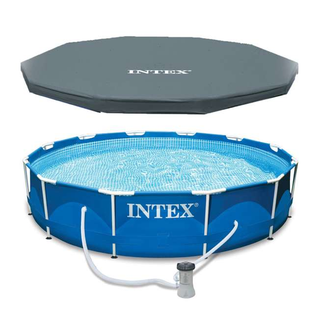"""28211EH + 28031E Intex 12' x 30"""" Metal Frame Set Above Ground Pool with Filter & Cover"""