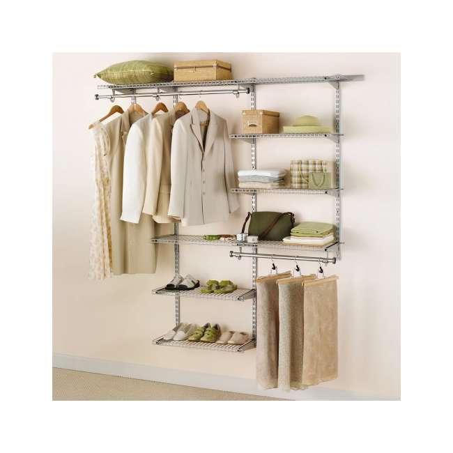 2060347-U-A Rubbermaid Configurations Closet Organizer 3'-6' Deluxe Kit, Titanium (Open Box)