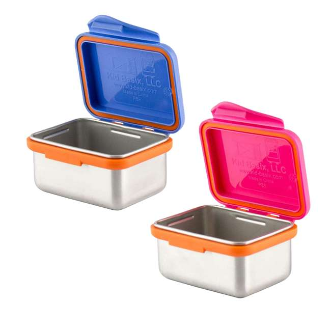 894148002954 + 894148002961 Kid Basix Safe Snacker 7 Ounce Stainless Steel Lunch Box, Blue and Fushia