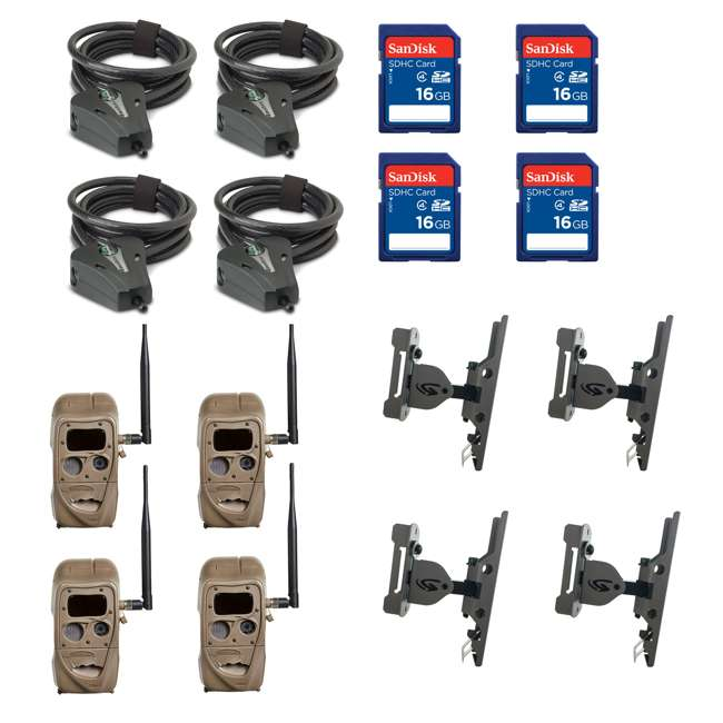 11445 + 4 x SD4 + 4 x 3488 + 4 x STC-CABLELOCK Cuddeback Cameras (4) & Memory Cards (4) & Mounts (4) & Cables (4)