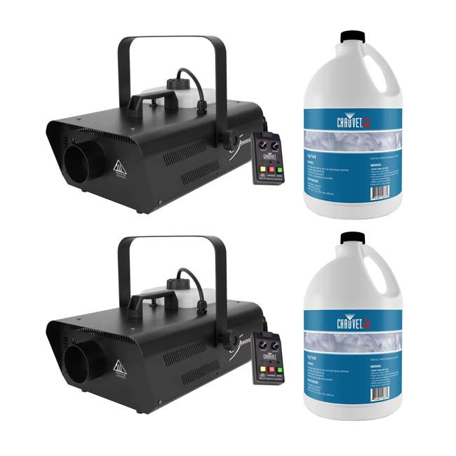 H1302 + 2 x FJU Chauvet DJ Smoke Fog Machine w/ Wired Remote (2 Pack) & Fog Juice (2 Pack)