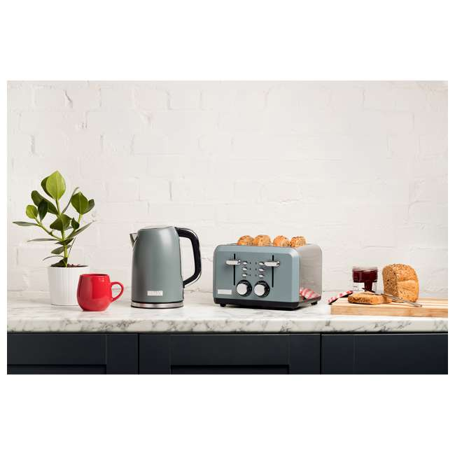 75007 Haden Perth Wide Slot Stainless Steel Body Retro 4 Slice Toaster, Slate Gray 3