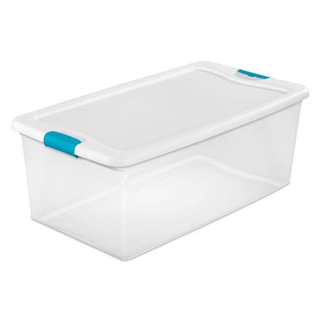 8 x 14998004-U-A Sterilite 106-Qt Clear & Blue Latching Storage Box Container (8 Pack)(Open Box)