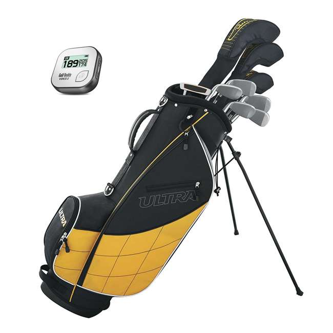 WGGC43000 + GB7-VOICE2-GREY Wilson Ultra Mens Complete Right Handed Golf Club Bag Set & Rangefinder