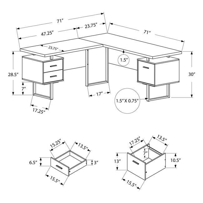 VM-7305-U-B Monarch Specialties 70 Inch Furniture Computer Desk, Cappuccino (Used) 3
