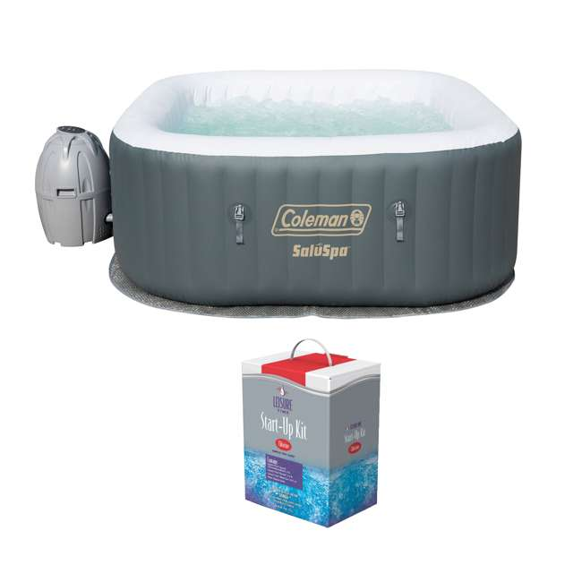 15442-BW + 45520A Coleman SaluSpa Inflatable Jacuzzi Hot Tub Spa with Chlorine Kit
