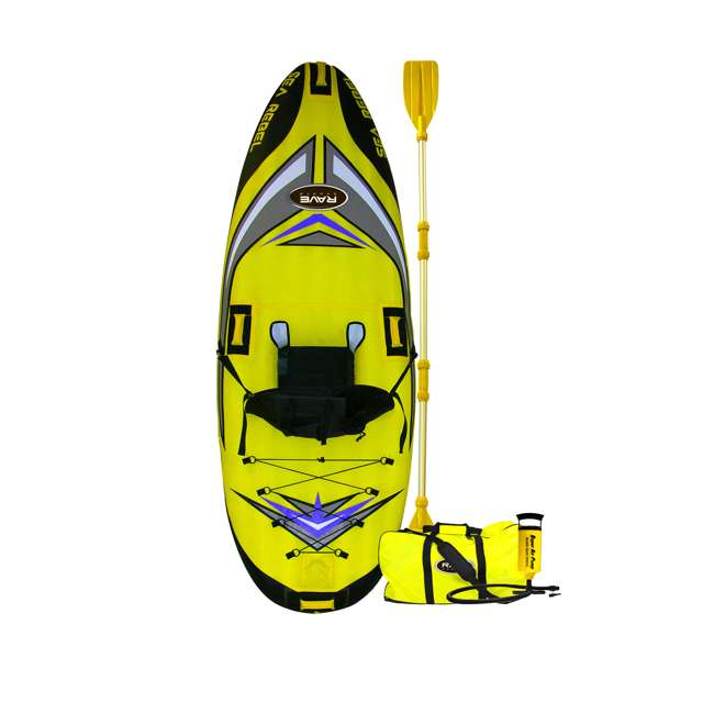 2365-RV RAVE Sports 1-person Sea Rebel Inflatable Kayak, Yellow  (2 Pack) 1