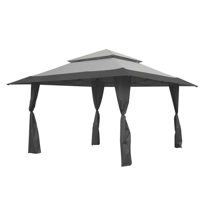 ZS13GAZGRY + ZS13SRGAZVM Z-Shade 13 x 13 Foot Instant Gazebo Canopy Outdoor Shelter with Bug Screen, Gray 1