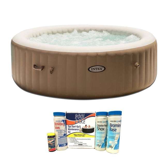 28407E + QLC-14888 Intex Pure Spa 6-Person Inflatable Portable Bubble Jet Hot Tub with Chemical Kit