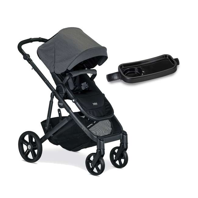 Britax B Ready G3 Folding Reclining Travel Baby Stroller And Stroller Snack Tray