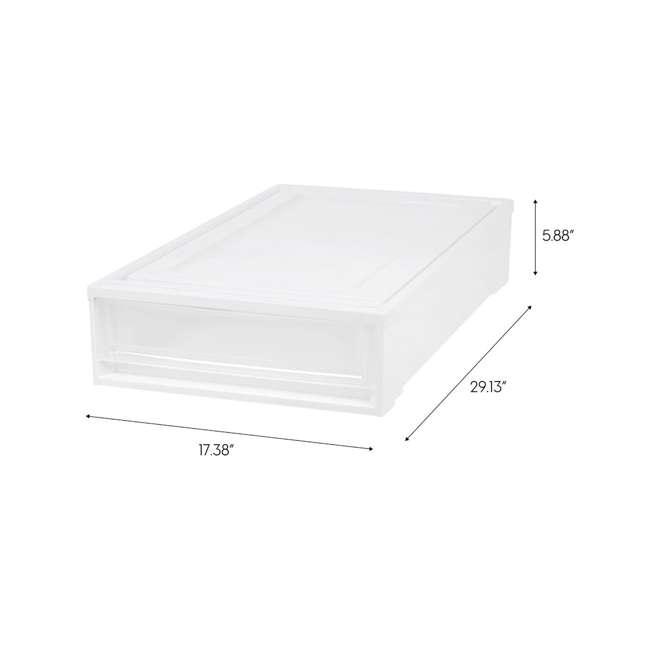 588525-4PK IRIS USA Under Bed Plastic Box Chest Drawer Storage Container, White (4 Pack) 2