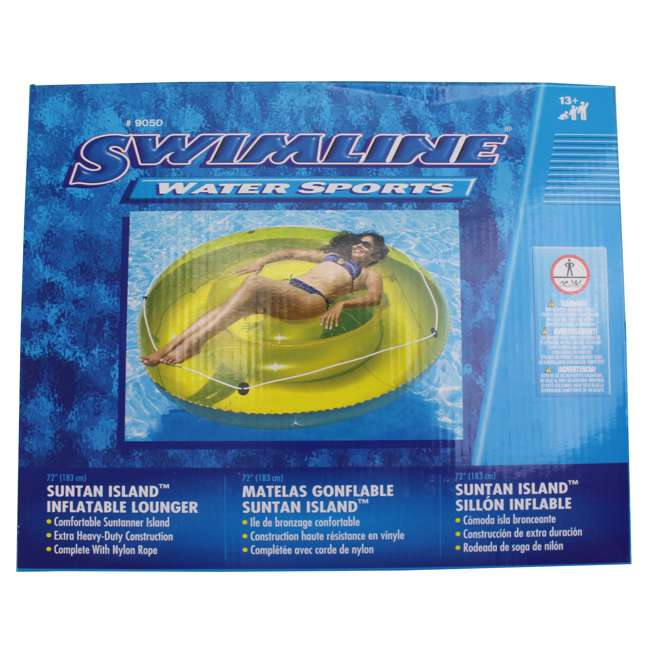 "9050-U-B Swimline 72"" Swimming Pool Sun Tan Lounger Island Float Inflatable 9050 (Used) 4"