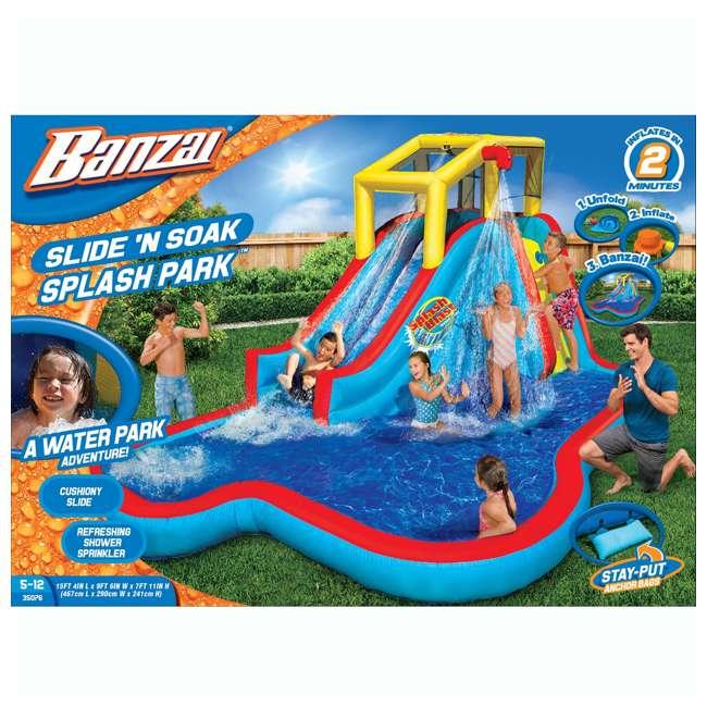 35076 Banzai Slide N Soak Splash Park Inflatable Outdoor Kids Water Park (Open Box) 2