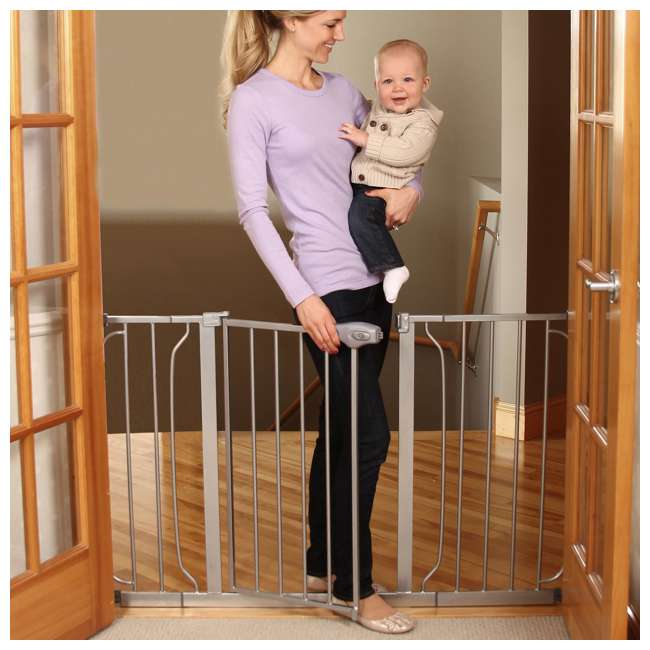 """1164EPDS-U-A Regalo 51"""" Easy Step Extra Wide Baby & Pet Safety Gate, Platinum (Open Box) 3"""