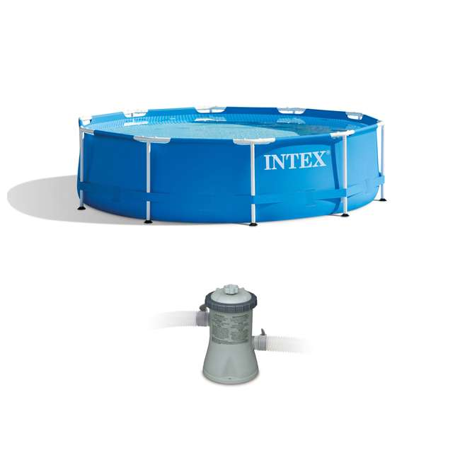 28200EH + 28601EG Intex 10 x 2.5 Foot Round Metal Frame Above Ground Pool + 330 GPH Filter Pump