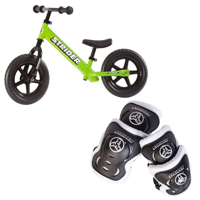 ST-M4GN + APADSET-SM Strider 12 Classic Entry Balance Bike for Kids 18 - 36 Months  + Safety Elbow and Knee Pads
