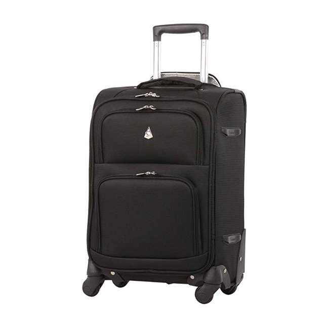 AERO9970 BLACK 21 FBA Aerolite Maximum Allowance Heavy Duty Airline Approved Carryon Suitcase, Black